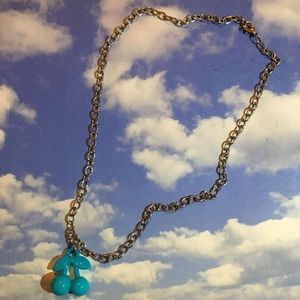 light blue cherry necklace